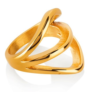 ELYA Gold Plated Split Band Stainless Steel Ring