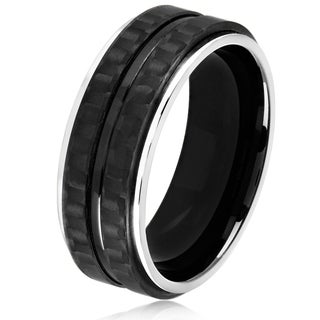 Crucible Men's High Polish Stainless Steel Carbon Fiber Grooved Comfort Fit Ring - 8mm Wide