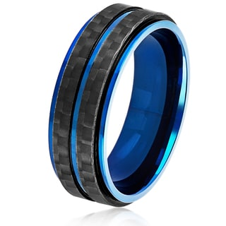 Crucible Men's Blue Plated Stainless Steel Double Carbon Fiber Stripe Comfort Fit Ring - 8mm Wide