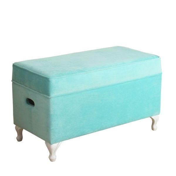 Homepop Storage Bench Reviews: HomePop Diva Decorative Storage Bench Aqua