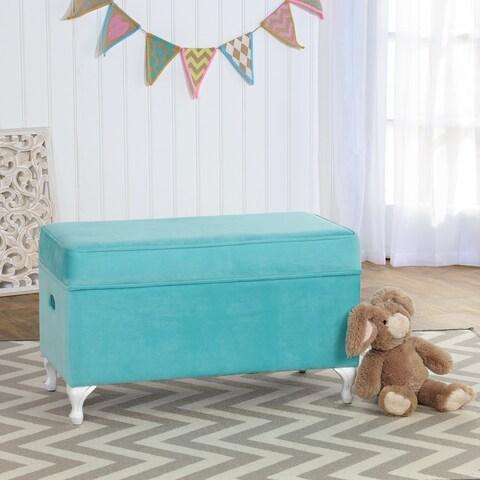 HomePop Diva Decorative Storage Bench Aqua