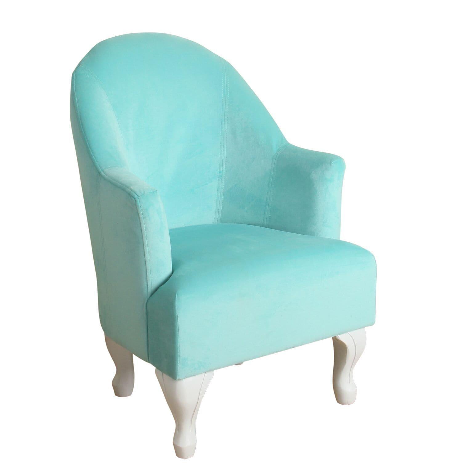 HomePop Diva Junvile Accent Chair Aqua (Aqua), Blue (Velvet)