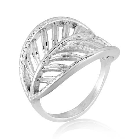 ELYA Open Leaf Stainless Steel Ring