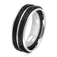 Crucible Men's High Polish Stainless Steel Double Carbon Fiber Stripe Comfort Fit Ring - 8mm Wide