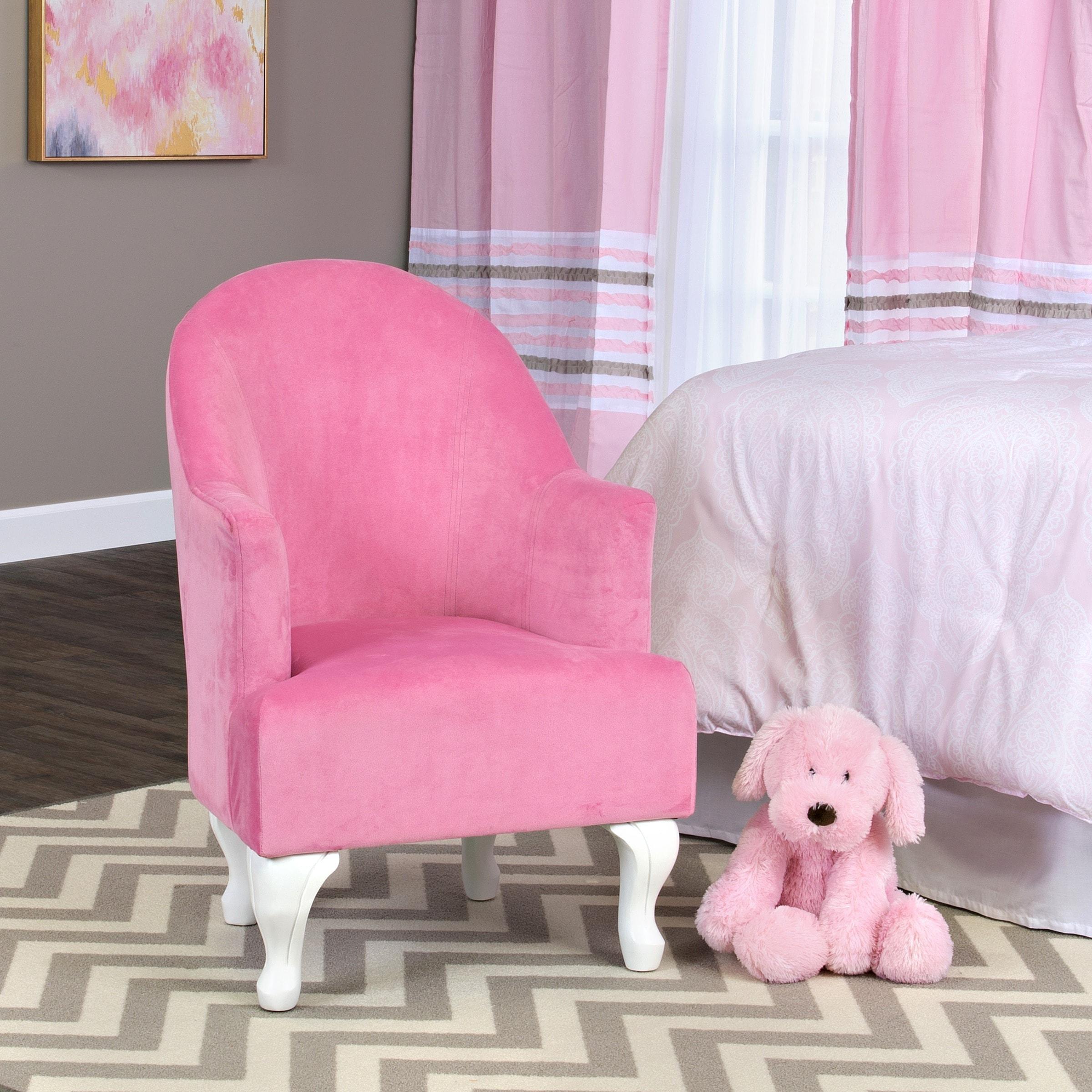 HomePop Diva Juvenile Accent Chair (Pink) (Velvet)