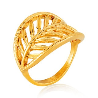 ELYA Gold Plated Open Leaf Stainless Steel Ring