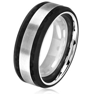 Crucible Men's Brushed Stainless Steel Carbon Fiber Beveled Comfort Fit Ring - 8mm Wide