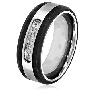 Crucible Men's Two-tone Brushed Center Stainless Steel Carbon Fiber Semi Eternity Cubic Zirconia 8mm Wide Ring