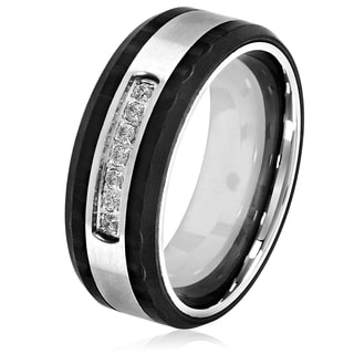 Crucible Men's Stainless Steel Carbon Fiber Semi Eternity Cubic Zirconia Ring - 8mm Wide