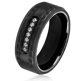 Crucible Men's Black on Black Stainless Steel Carbon Fiber Semi Eternity Cubic Zirconia Ring - 8mm Wide