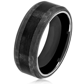 Crucible Men's Black Plated Brushed Stainless Steel Carbon Fiber Beveled Comfort Fit Ring - 8mm Wide