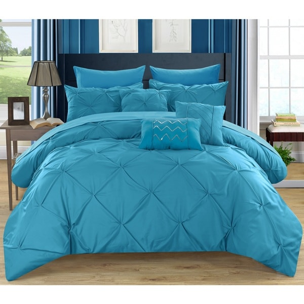 shop chic home valentina turquoise 8 piece bed in a bag with sheet set on sale free shipping. Black Bedroom Furniture Sets. Home Design Ideas