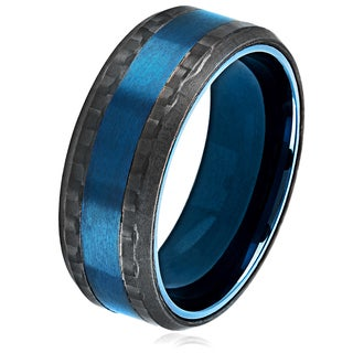 Crucible Men's Blue Plated Brushed Stainless Steel Carbon Fiber Beveled Comfort Fit Ring - 8mm Wide