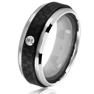 Crucible Men's Bezel Set Solitaire Cubic Zirconia Stainless Steel Carbon Fiber Ring - 8mm Wide