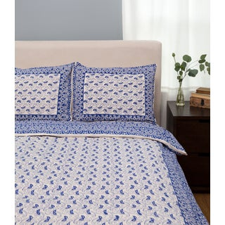 Handmade Paisley Pattern Duvet Set - Indigo Queen (India)