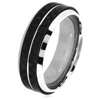 Crucible Men's Stainless Steel Dual Carbon Fiber Stripe Beveled Ring - 7.5mm Wide