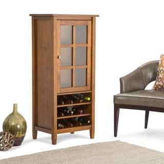 WYNDENHALL Norfolk 12-Bottle Solid Wood 23 inch Wide Rustic High Storage Wine Rack Cabinet in Honey Brown