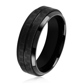 Crucible Men's Black Plated Stainless Steel Dual Carbon Fiber Stripe Beveled Ring - 7.5mm Wide