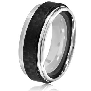 Crucible Men's High Polish Stainless Steel Carbon Fiber Ridged Ring - 8mm Wide