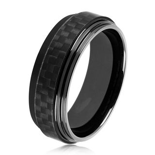 Crucible Men's Black Plated High Polish Stainless Steel Carbon Fiber Ridged Ring - 8mm Wide