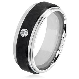 Crucible Men's Bezel Set Solitaire Cubic Zirconia Stainless Steel Carbon Fiber Ridged Ring - 8mm Wide