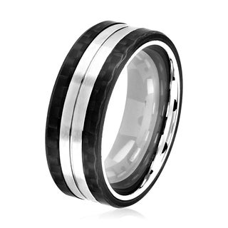 Crucible Men's Brushed Stainless Steel Carbon Fiber Grooved Comfort Fit Ring - 8mm Wide