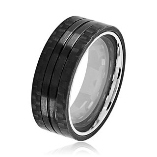 Crucible Men's Black Plated Brushed Stainless Steel Carbon Fiber Grooved Comfort Fit Ring - 8mm Wide