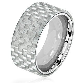 Crucible Men's Stainless Steel Carbon Fiber Overlay Glossy Comfort Fit Ring - 10mm Wide