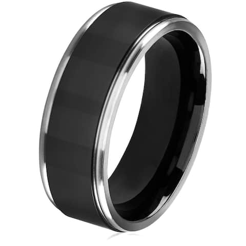 Crucible Men's Black Plated Titanium Grooved Comfort Fit Ring - 8mm Wide