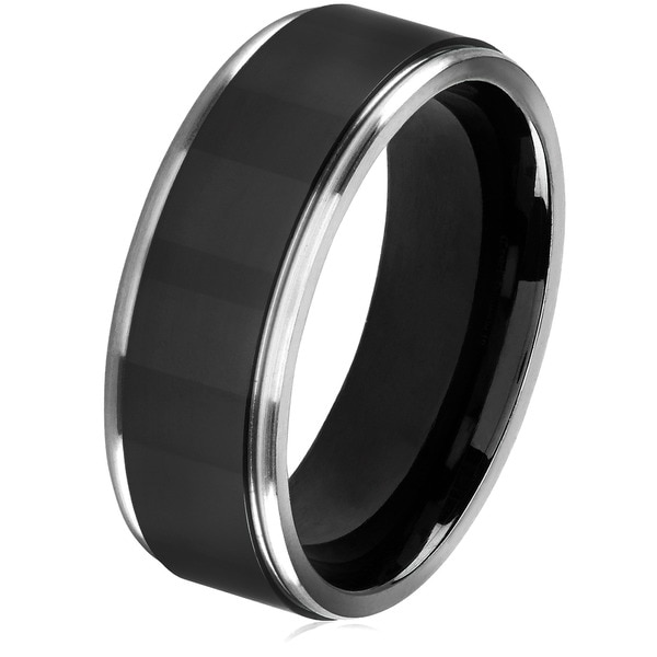 Crucible Men's Black Plated Titanium Grooved Comfort Fit Ring - 8mm Wide. Opens flyout.