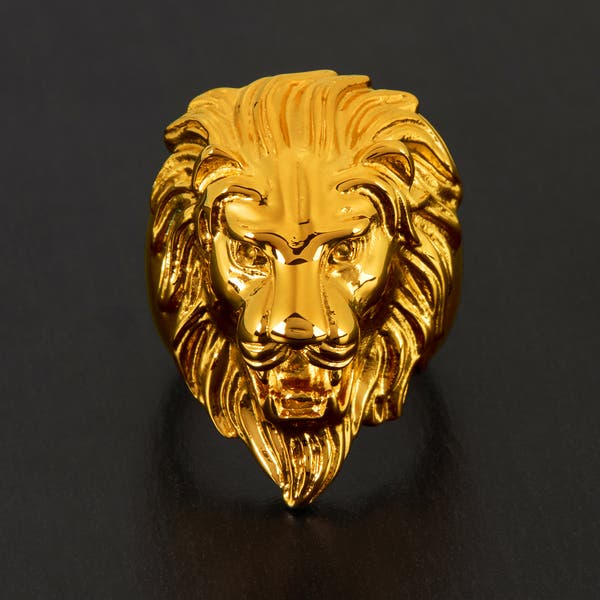 Crucible lion on leather