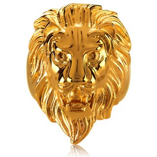 Crucible Men's Gold Plated Polished Stainless Steel Lion Head Ring - 36mm Wide