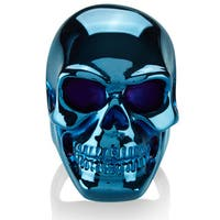 Crucible Men's Blue Plated Polished Stainless Steel Skull Ring - 40mm Wide