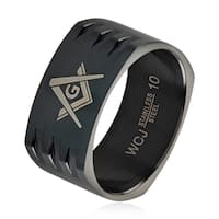 Men's Masonic Black Plated Stainless Steel Round Square Band Ring - 10mm Wide