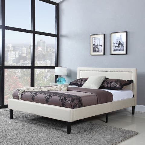 Deluxe Nailhead Trimmed Ivory Linen Fabric Platform Bed with Wooden Slats