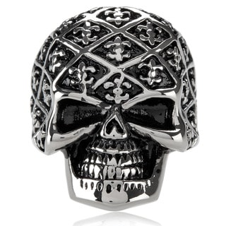 Crucible Men's Stainless Steel Fleur de Lis Skull Ring - 31mm Wide