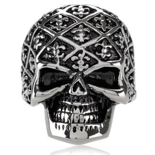 Crucible Men's Stainless Steel Fleur de Lis Skull Ring - 31mm Wide