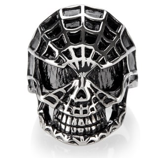 Crucible Men's Stainless Steel Spider Web Skull Ring - 28mm Wide