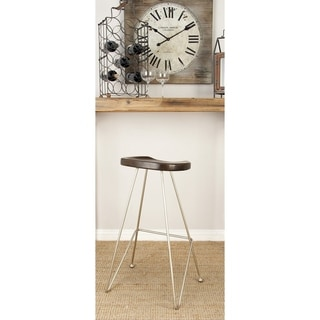 Wood Mahogany Finish Metal Bar Stool