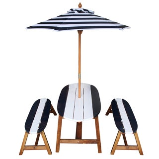 Kids Outdoor Surfboard Table and Bench Set with Umbrella