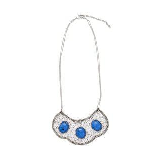 Handcrafted Nefertari Silver and Blue Bib Necklace (India)