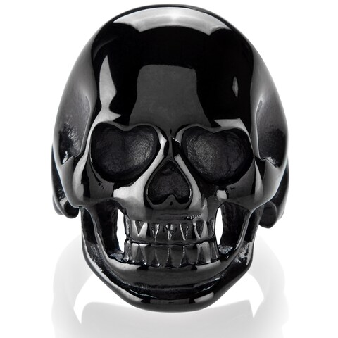 Crucible Men's Black Plated Polished Stainless Steel Skull Ring - 30mm Wide