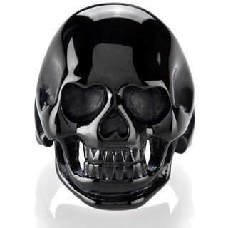 Crucible Men's Black Plated Polished Stainless Steel Skull Ring - 30mm Wide (4 options available)