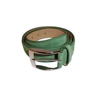 Renoir Green Suede Dress Belt with Silver Buckle