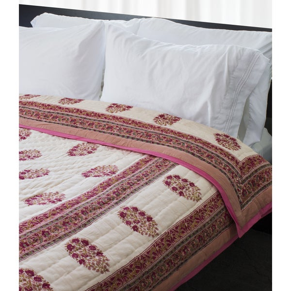 Handmade Indian Palace Quilt - Red Floral (India)