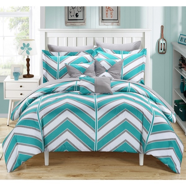 Chic Home Roxy Aqua 10-Piece Bed in a Bag with Sheet Set