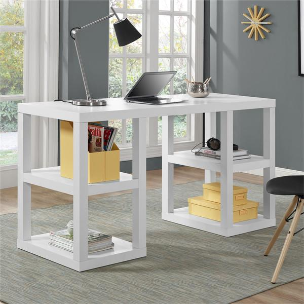 Ameriwood Home Parsons White Deluxe Desk Free Shipping