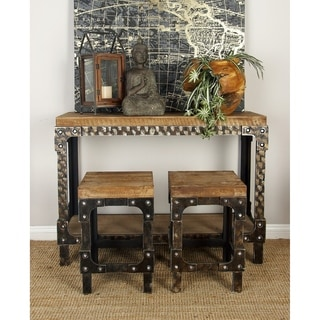 Wood 3-piece Table and Stool Set