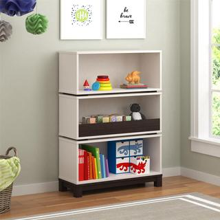 Altra Leni White and Coffee House Plank Storage Bookcase by Cosco