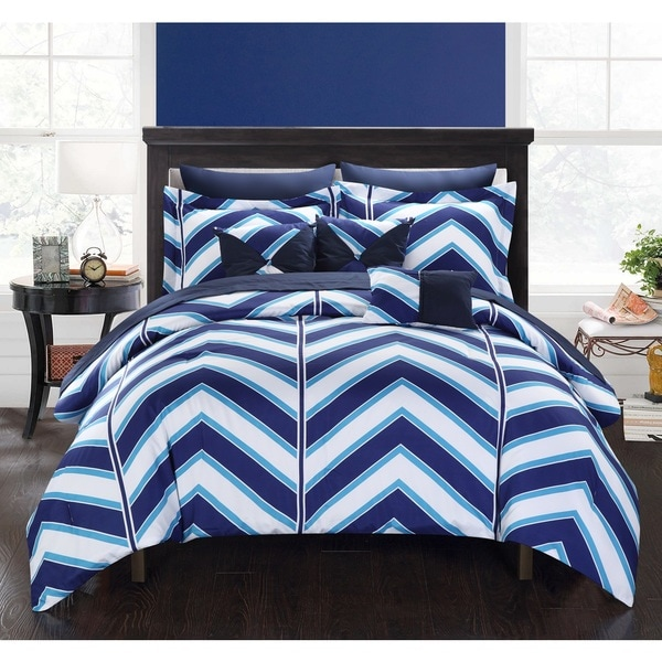 Chic Home Roxy Navy 10-Piece Bed in a Bag with Sheet Set
